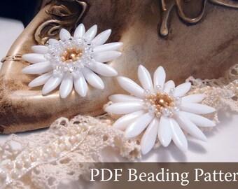 Beading Tutorial White Lady I, White Lady II Flower Pendant, Beading Pattern,Beaded Bridal Pendant Pattern,Wedding Jewelry, Dagger Bead, PDF