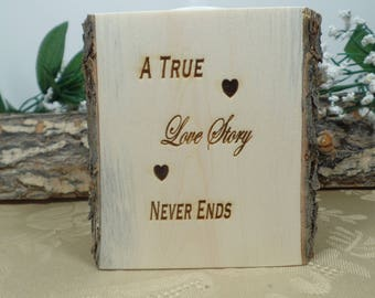 """Handcrafted """"Love Story"""" Log candle, Home Decor, Christmas Gift, Wedding table Decor, Love Candles, Valentines Gift, Anniversary, Log Slice"""