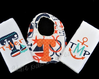 Nautical Baby Gifts - Nautical Baby Bib - Nautical Burpcloths - Baby Boy Gift Set - Personalized Baby Gift - Anchor - Sailboat - Shower Gift