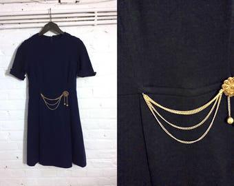 1960s vintage navy blue mini dress with golden chain detail - UK 8 EU 36 US 6 - Sixties Mod Yeye Psych Preppy