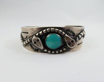 1960s Zuni Silver Snake Cuff