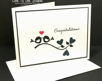 Congratulations Greeting Card, Engagement, Bridal, Wedding For Newly Engaged Couple, Silhouetted Love Birds with Hearts