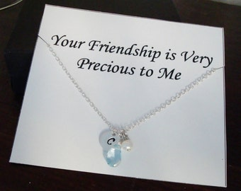 Blue Topaz with Letter Initial & White Pearl Silver Necklace ~Personalized Jewelry Card for Sister, Best Friend, Sister in Law, Bridal Party