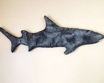 Handcarved Wall Shark, wall shark, ocean wall art.