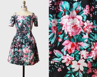 Vintage 80s Mini Summer Dress Black FLORAL Grunge Print / 1980s Black Pink Party Dress Extra Small xs