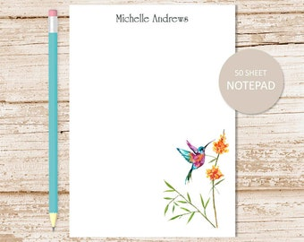 personalized notepad, note pad . hummingbird notepad . watercolor hummingbird, birds . personalized stationery . stationary gift