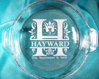 Personalized Monogram Glass Pie Plate, Pie Pan
