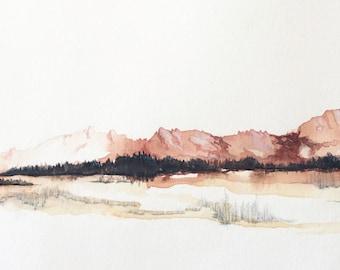 "Original Watercolor Landscape - 9"" x 24"""