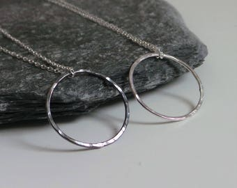 Rustic Circle Necklace - Sterling Silver Black or Silver Circle Necklace - Hammered Geometric Circle Necklace - Minimalist Jewellery - Etsy