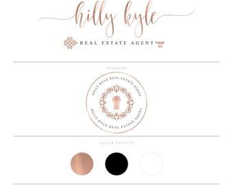 Rose Gold Real Estate Logo Design Realtor Logo Key Logo Realtor Marketing Real Estate Agent Real Estate Branding Package Broker Logo