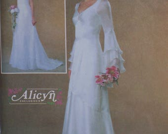 McCalls4379-Bridal Gown Flounced Sleeves/Vintage Style-Rare-UNCUT-Sizes 10-16