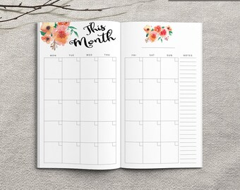 Printable Monthly Planner, Personal Monthly Planner, Printable Personal Notebook Monthly planner inserts, PDF file