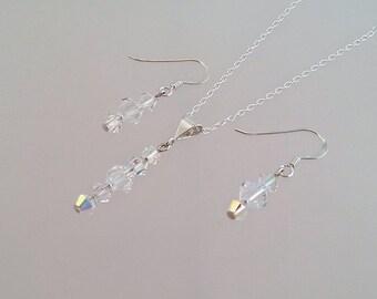 Swarovski Crystal Jewellery Set, Crystal AB Jewelry, Bridal Wedding Jewellery, Gift For Her Under 30, Girlfriend Gift, Christmas Present.
