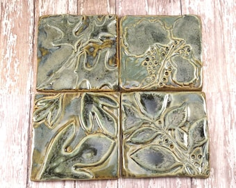 Ceramic Tile Wall Art - Backsplash Accent - Kitchen Tile - Bathroom Tile - Leaf Tiles - Green Leaves - Handmade Tiles - Set of 4 - 706