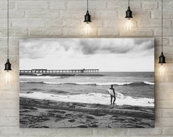 Surf Art -- Black and White Surf Print -- Surfer and Surfboard - Father's Day Gift - Masculine Wall Art - Surfer Print - San Diego Wall Art