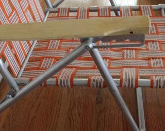 Vintage Folding Orange Lawn Lounge Chair // Retro Aluminum Chaise Lounge