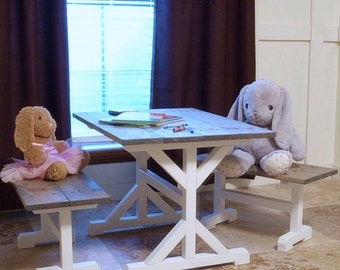 HandCrafted Kids Farmhouse Table and Benches (**Free Shipping**)