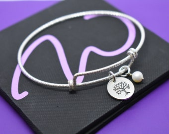 Mom bracelet - Mothers Day Gift - Family Tree - Mom Bracelet - Mom Jewelry - Sterling Silver - Dainty Minimalist - Mother - Family