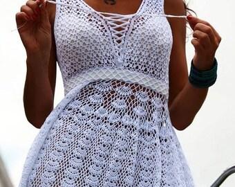 White openwork dress crochet knit dress,knitted crochet sundress for women Lacy dress for a beach party,summer dress, cotton dress