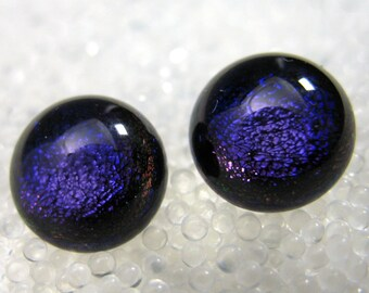 Dichroic Fused Glass Stud Earrings, Sparkling Royal Purple Blue Earrings, Hypoallergenic Post Earrings