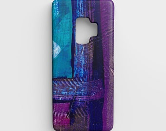 Purple and Blue Abstract Samsung Galaxy S9 Phone Case - Device Case - Art Cell Phone Case