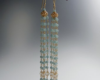 Amazonite and Moonstone Juturna Earrings