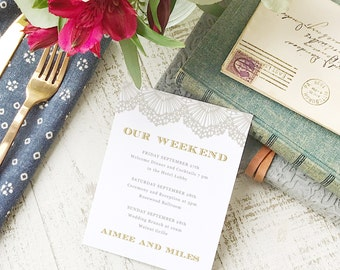Wedding Agenda Card, Printable Wedding Timeline Letter, Events Card, Lace, Itinerary, Agenda, Hotel Card - INSTANT DOWNLOAD