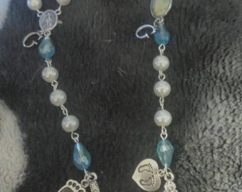 Baby boy memorial bracelet with initial