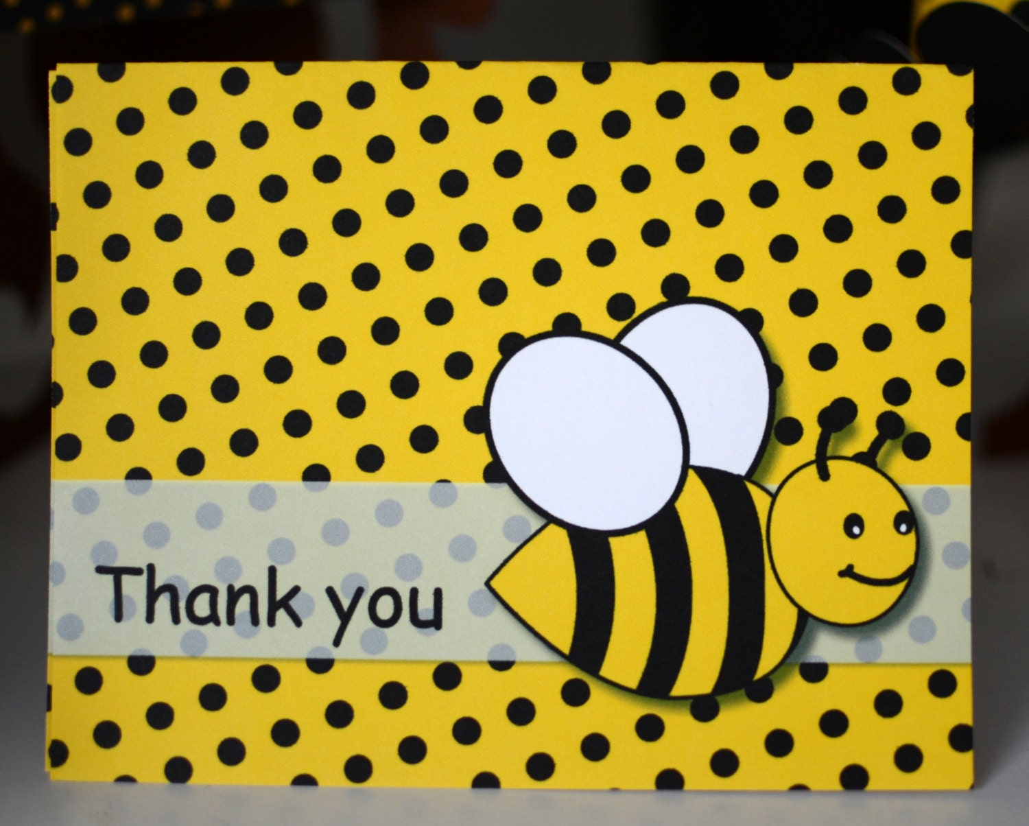 Bumble bee birthday party thank you card bumble bee baby zoom filmwisefo Images