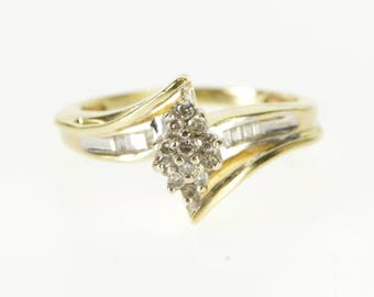 10K Pointed Oval Cluster Baguette Accent Freeform Ring Size 7 Yellow Gold