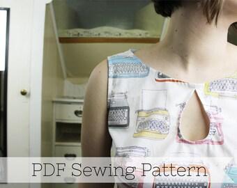 Keyhole Dress PDF Sewing Pattern- Tutorial, Downloadable, Digital, Typewriter, Easy