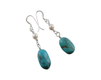 Turquoise White Pearl Dangle Earrings