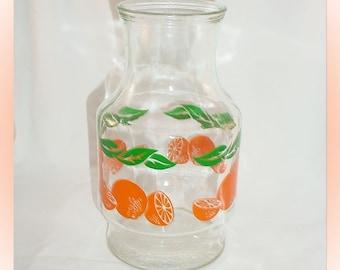 Vintage Orange Juice Glass Carafe