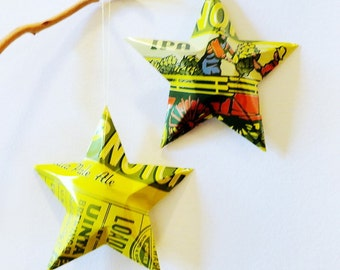 Hop Nosh IPA Beer Stars, Ornaments, Aluminum Can, Upcycled, Uinta Brewing Co, Farm