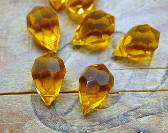 Faceted Topaz Crystal Teardrop Vintage Cut Crystal Drop (1) SD61