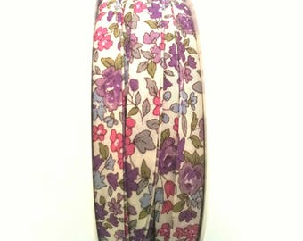 50 cm of floral liberty fabric - white - floral purple and pink - 20 mm flat