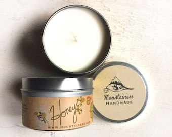 soy candles / honey scented candle / honey soy scented candle / candle tin / travel candle / candel / scented soy candle / fall candle fall
