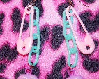 Lolita Fairy Kei Pastel Safety Pin Earrings
