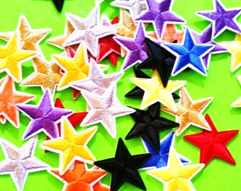 Nautical Star Solid or Bicolor Yellow Green Pink Gold BLack White Fully Embroidered Iron or Sew On Patch - More Styles