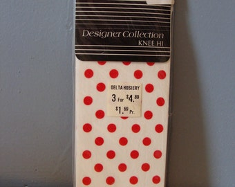 Vintage Knee High Stockings White and Red Polka Dots Opaque NOS Original Packaging Size 8 1/2-11 Mod Spring Retro Fashion Knee-Hi Fun Cute