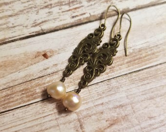 Cream pearl earrings Edwardian earrings Filigree earrings Bronze earrings drop earrings Valentine day gift for mother