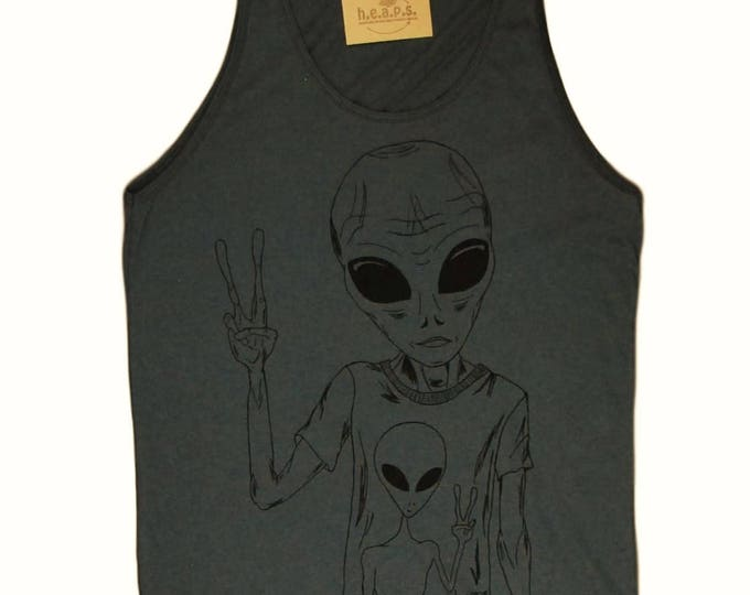 Mens Tank Tops - Alien Tank Top - Alien Top - Sci Fi Shirt - Nerd TShirts - Geek Tshirts - Funny Tank Tops - Grey Tanktops American Apparel