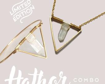 Hathor Combo — bracelet necklace triangle crystal wire wrapped minimalist healing nashville bride bangle gold contemporary sacred geometry