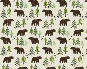 Forest Bear Nursery Fabric Bears Quilting Fabric by the Yard Cotton Fabric Organic Cotton Knit Food Fabric Childrens Fabric 7495532