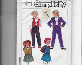 Simplicity Girls' Pull-On Pants, Skirt and Lined Jacket or Vest Pattern 7017