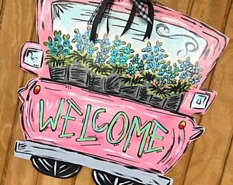 spring door hanger + summer door hanger // pink + coral + cobalt + mint  // door decor // front door hanger