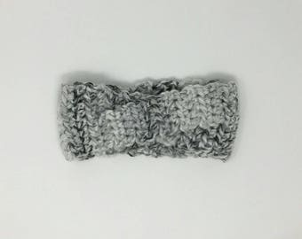Twisted ear warmer, headband, headwrap, woman's, gray and white