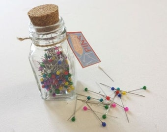 Glass Jar of Pearl Head Pins - Sewing Sew Craft Home Pin - All Colours - 200