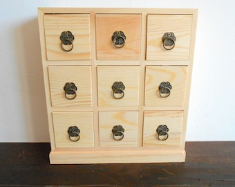 Wooden drawers box- 9 drawers- Jewelry Chest of drawers- Apothecary Cabinet- Desktop Organizer - Trinket Storage- Cabinet box- trinket keep