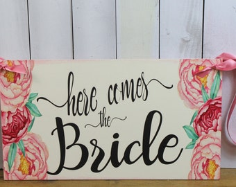 Here Comes the BRIDE Sign/YOU Choose Colors/Photo Prop/Hand Lettered Style/Reversible Options/Wood Sign/Wedding Sign/Fast Shipping/Peonies
